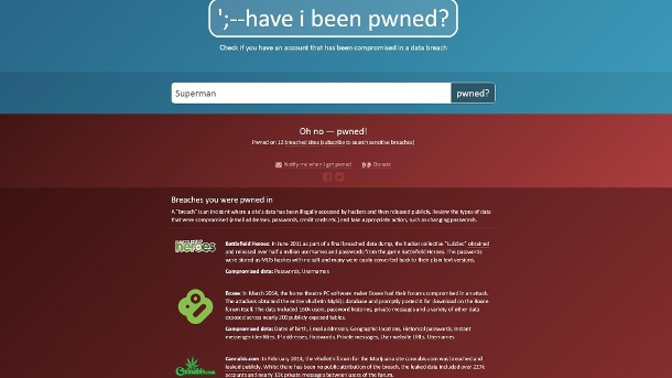 Die Pwned-Webseite (Quelle: Troy Hunt)