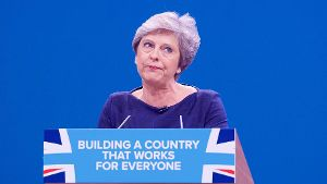 Theresa May bei ihrer Rede in Manchester.
