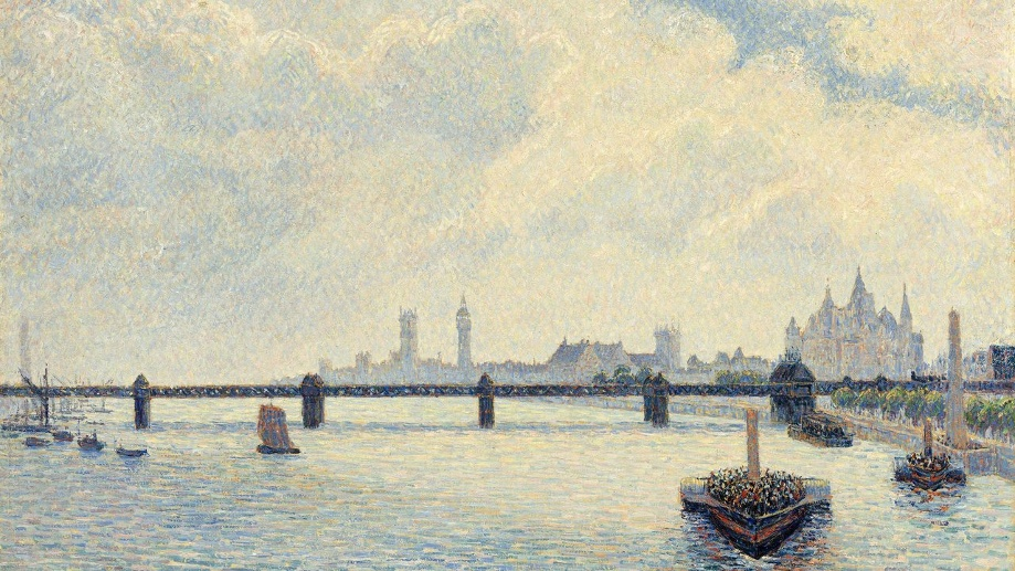 "Das Ölgemälde ""Charing Cross Bridge"" (1890) von Camille Pissarro in der Tate Britain in London. (Quelle: dpa/National Gallery Of Art)"