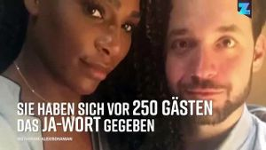 Tennis-Star Serena Williams: Sie hat ihren Partner Alexis Ohanian geheiratet. (Screenshot: Zoomin)