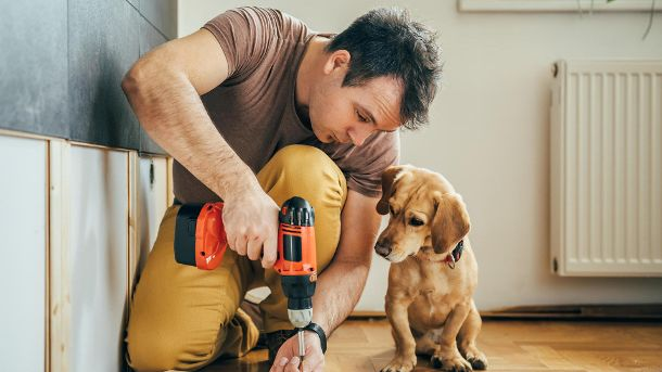 Man and his dog doing renovation work at home (Quelle: Thinkstock by Getty-Images/Kerkez)