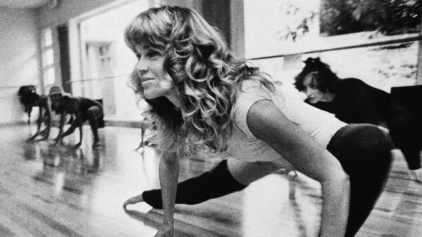 "Schauspielerin Jane Fonda trainiert am 6. September 1979 in ihrem Studio ""Workout"" in Beverly Hills. (Quelle: dpa)"