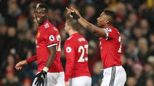 Luis Antonio Valencia of Manchester United ManU celebrates scoring the first during the premier leag