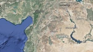 Eskalation in Syrien: Lage von Afrin (Screenshot: Google Earth)