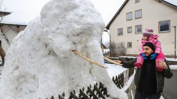 Schnee-Elefant (Quelle: dpa/Thomas Warnack)