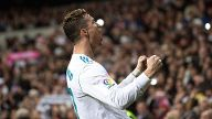 Real Madrid s forward Cristiano Ronaldo celebrates after scoring the second goal during the Spanish