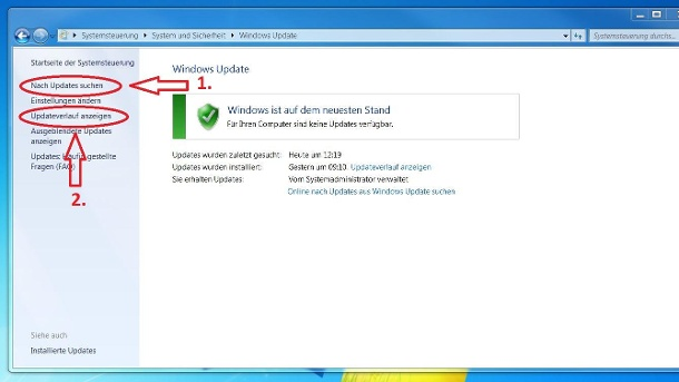 Screenshot: Update-Verwaltung unter Windows (Quelle: t-online.de/Screenshot)