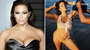 Wet-T-Shirt-Contest: Kurvenmodel Ashley Graham macht sich nass (Screenshot: Instagram / Sports Illustrated)