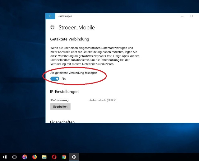 "Nun suchen Sie ""Als getaktete Verbindung festlegen"" und schalten die Option ein. So unterbinden Sie die meisten Windows Updates.  (Quelle: Windows 10)"