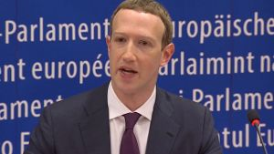 Zuckerberg in Brüssel (Screenshot: Reuters)