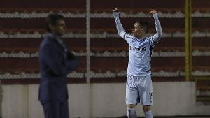 Bolivar s Juan Miguel Callejon celebrates after scoring against Delfin during the Copa Libertadores