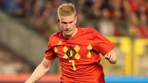Kevin DE BRUYNE pictured in action during a friendly game between Belgium and Egypt as part of prep