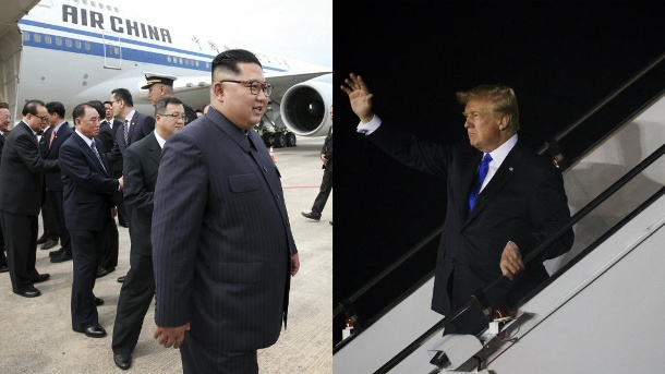 Ankunft in Singapur: Kim Jong Un und Donald Trump  (Quelle: AP/dpa/Ministry of Communications and Information of Singapore/ Evan Vucci)