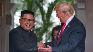 U.S. President Donald Trump meets North Korean leader Kim Jong Un at the Capella Hotel on Sentosa island in Singapore