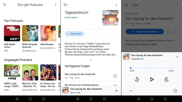 Screenshots aus der Google Podcast-App (Quelle: t-online.de/Screenshot: Marc Krüger)