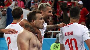 KALININGRAD RUSSIA JUNE 22 2018 Switzerland s Xherdan Shaqiri front and his teammates celebra