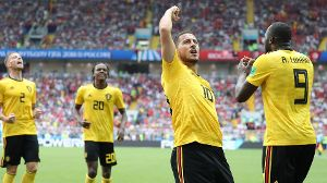 Belgium s Eden Hazard celebrates after scoring during the second game of Belgian national soccer tea