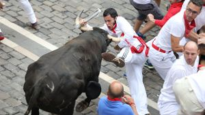 Stierhatz in Pamplona geht weiter (Screenshot: David Domench/Europapress/dpa)