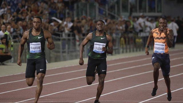 leichtathletik us sprinter baker gewinnt in london coleman verletzt. Black Bedroom Furniture Sets. Home Design Ideas