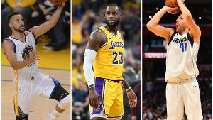Im Fokus: Stephen Curry, LeBron James und Dirk Nowitzki (v. li.).