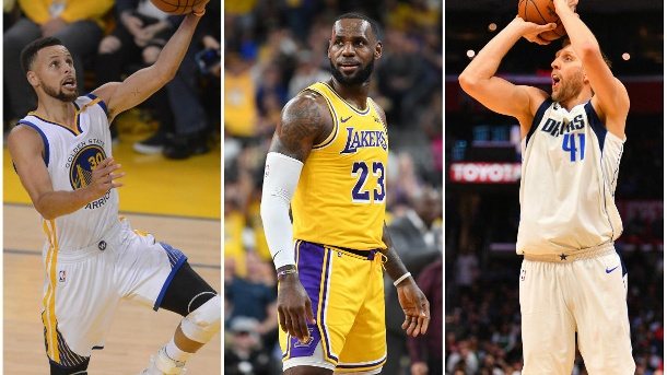 . Im Fokus: Stephen Curry, LeBron James und Dirk Nowitzki (v. li.). (Quelle: imago images)