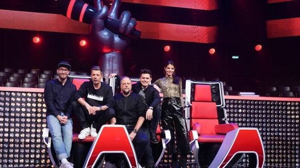 TV-Tipp: The Voice of Germany. Die Coaches Mark Forster (l-r), Michi Beck, Smudo, Michael Patrick Kelly und Yvonne Catterfeld suchen neue Talente.