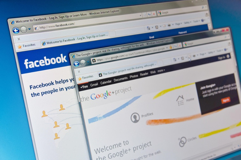 Facebook and Google+ (Quelle: Getty Images/Getty)