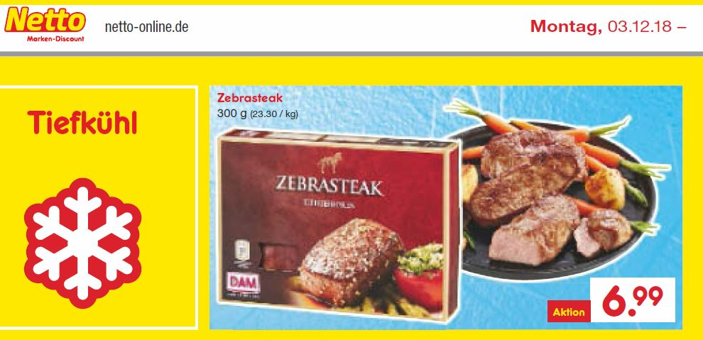 Prospekt von Netto: Der Discounter verkauft aktionsweise Zebrasteak. (Quelle: Screenshot Prospekt Netto)