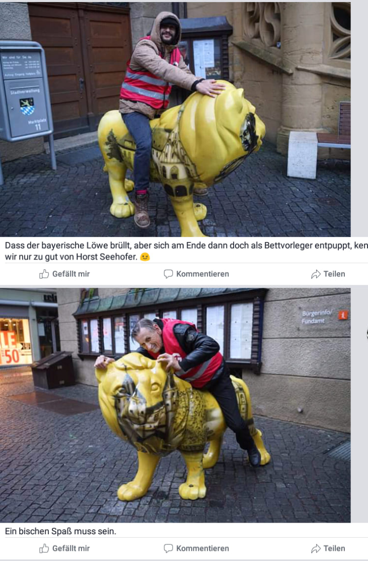 "Kunststofflöwen-Bändiger: Mitglieder der ""Bürgerwehr"" bei ihrem Einsatz in Amberg.  (Quelle: Screenshot Antifaschistische Union Deutschland/Facebook)"