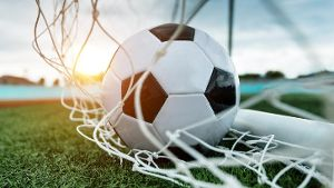 Fußball im Tor (Quelle: Thinkstock by Getty-Images/baona)