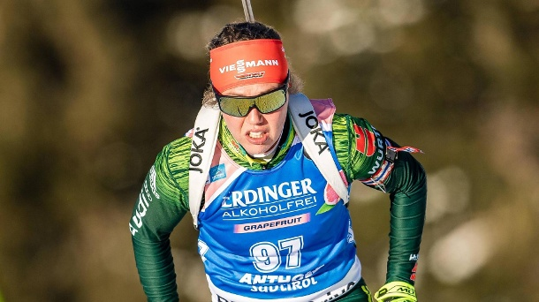 Biathlon in Antholz: Starke Laura Dahlmeier stürmt aufs Podest. Laura Dahlmeier in Antholz. (Quelle: imago images/Sammy Minkoff)