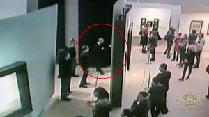 MOSCOW RUSSIA JANUARY 28 2019 A suspected thief of a painting by Russian artist Arkhip Kuindzhi