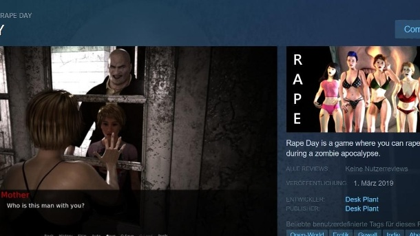 "PayPal und Co sperren ""Rape Day""-Entwickler. Die ehemalige Shop-Seite von ""Rape Day"" auf Steam: In dem Game sollen Spieler Frauen vergewaltigen. (Quelle: Screenshot Steam)"