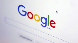 The Google internet homepage is displayed on a product at a store in London