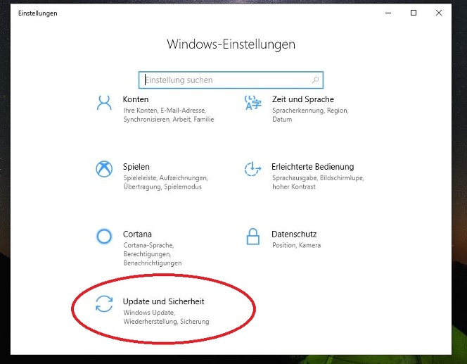 "Wählen Sie nun ""Updates und Sicherheit"". (Quelle: Screenshot Windows 10)"
