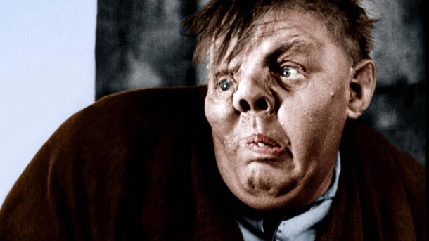 "Charles Laughton als Quasimodo in William Dieterles Verfilmung des ""Glöckners von Notre-Dame"". (Quelle: imago images / Prod.DB)"