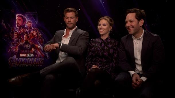 Hemsworth, Johansson, Rudd in London. (Quelle: t-online.de)