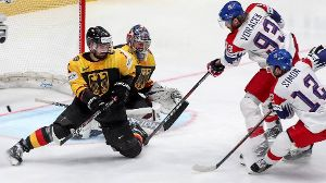 BRATISLAVA SLOVAKIA – MAY 23 2019 The Czech Republic's Jakub Voracek 2nd R scores past Germany'