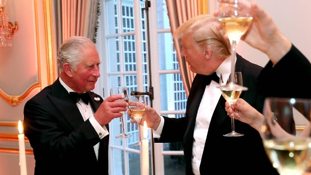 Prince Charles, Donald Trump gestern in Winfield House. (Quelle: imago images)