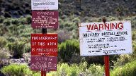 Jan 25 2005 RACHEL Nevada U S near Rachel Nevada Warning signs at the restricted boundary