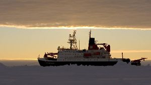 Icebreaker research ship Polarstern moored on ice floe photographed at 03 00 am Weddell Sea Ant