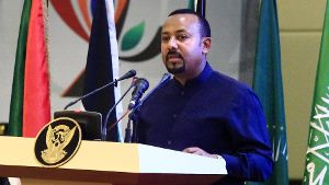 (190817) -- KHARTOUM, Aug. 17, 2019 -- Ethiopian Prime Minister Abiy Ahmed speaks during the signing ceremony of the po