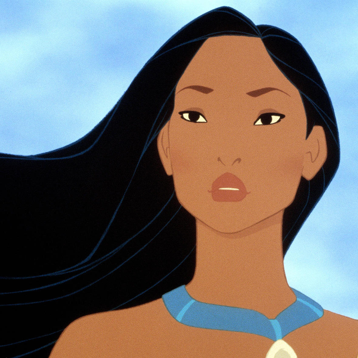 The true story of Pocahontas in art history: Pocahontas, still from movie, 1995, Walt Disney Productions.
