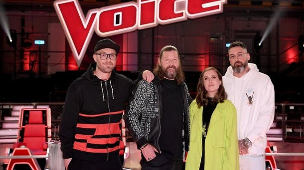 TV-Tipp: The Voice of Germany (Finale). Die Coaches: Mark Forster (l-r), Rea Garvey, Alice Merton und Sido.