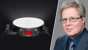 Smartwatch mit Braille-Schrift (l.) – Thomas Kahlisch (r.): Digitale Technik hilft blinden Menschen im Alltag und im Beruf.