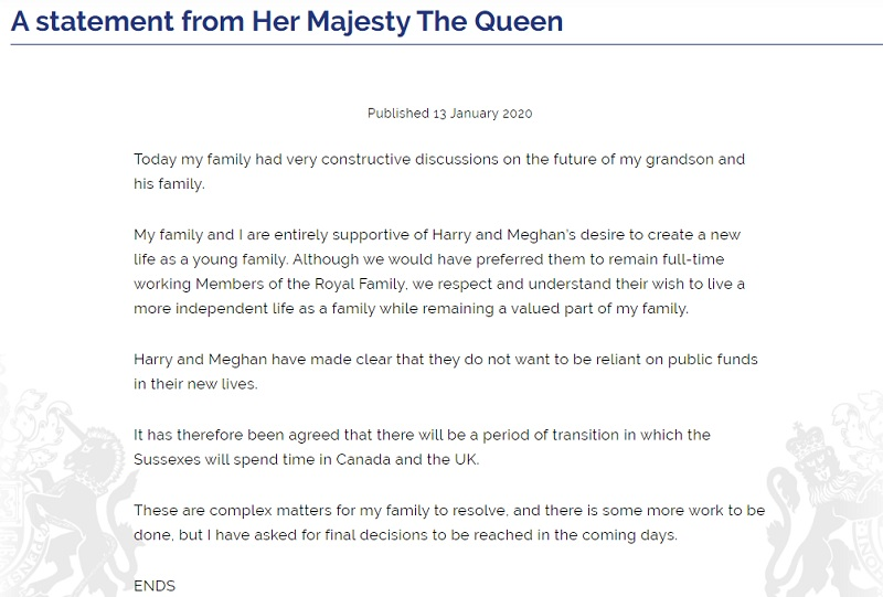 Das offizielle Statement der Queen. (Quelle: royal.uk)