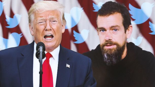 US-Präsident Donald Trump und Twitter-Chef Jack Dorsey: Das private Konto von Trump hat mehr als 80 Millionen Follower.  (Quelle: imago images/Benjamin Springstrow)