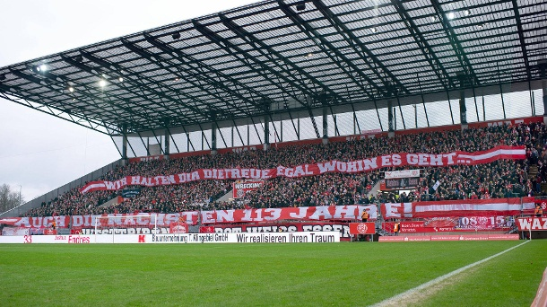 Rot-Weiß Essen fans: Numerous supporters also support RWE in the stadium opened in 2012 in the 4th division.  (Source: imago images / Noah Wedel)