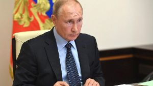 June 8, 2020, Novo-Ogaryovo, Russia: Russian President Vladimir Putin, holds a meeting via video conference with Head of