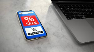 Smartphone Sale Online Shopping On the bargain hunt with the smartphone. 3d illustration.